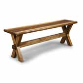 Flexsteel® Forest Retreat Trestle Bench In Brown Teak Wood, 54''W x 14''D x 18-1/2''H