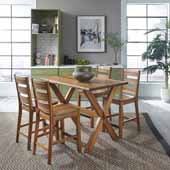 Flexsteel® Forest Retreat High Dining Table & 4 Stools In Brown Teak Wood, 52''W x 32''D x 36''H
