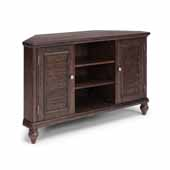 Flexsteel® Southport Corner Entertainment Stand In Dark Brown Aged Oak, 54''W x 18''D x 32''H