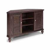 Flexsteel® Southport Corner Entertainment Stand In Dark Brown Aged Oak, 54''W x 18''D x 32''H
