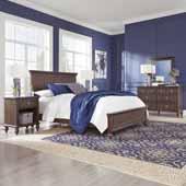 Flexsteel® Southport Queen Bed, Night Stand, Dresser & Mirror In Dark Brown Aged Oak, 66-1/2''W x 89-3/4''D x 52''H