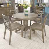 Flexsteel® Mountain Lodge Round Dining Table & 4 Chairs In Multi-Colored Gray, 42''W x 42''D x 30''H