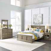 Flexsteel® Mountain Lodge Queen Bed, Night Stand, Dresser & Mirror In Multi-Colored Gray, 66-3/4''W x 89-1/2''D x 50''H