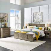 Flexsteel® Mountain Lodge King Bed, Night Stand, & Chest In Multi-Colored Gray, 82-3/4''W x 89-1/2''D x 50''H