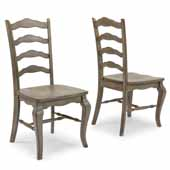 Flexsteel® Mountain Lodge Pair (x2) Of Dining Chairs with Curved Ladder Back In Multi-Colored Gray, 19'W x 21'D x 40'H