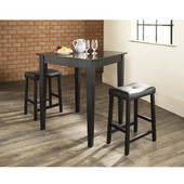3 Piece Pub Dining Set with Tapered Leg and Upholstered Saddle Stools in Black Finish