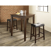 3 Piece Pub Dining Set with Tapered Leg and Upholstered Saddle Stools in Vintage Mahogany  Finish
