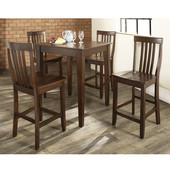 5 Piece Pub Dining Set with Tapered Leg and School House Stools in Vintage Mahogany  Finish