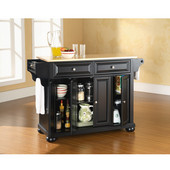 Alexandria Natural Wood Top Kitchen Island in Black Finish, 51-1/2'' W x 18'' D x 34'' H