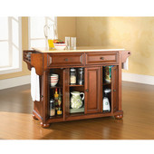 Alexandria Natural Wood Top Kitchen Island in Classic Cherry Finish, 51-1/2'' W x 18'' D x 34'' H