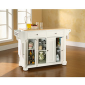 Alexandria Natural Wood Top Kitchen Island in White Finish, 51-1/2'' W x 18'' D x 34'' H
