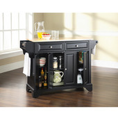 LaFayette Natural Wood Top Kitchen Island in Black Finish, 51 1/2'' W x 18'' D x 36'' H