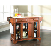 LaFayette Natural Wood Top Kitchen Island in Classic Cherry Finish, 51 1/2'' W x 18'' D x 36'' H