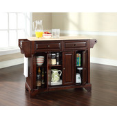 LaFayette Natural Wood Top Kitchen Island in Vintage Mahogany Finish, 51 1/2'' W x 18'' D x 36'' H