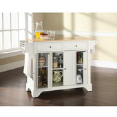LaFayette Natural Wood Top Kitchen Island in White Finish, 51 1/2'' W x 18'' D x 36'' H