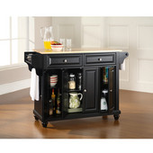 Cambridge Natural Wood Top Kitchen Island in Black Finish, 51-1/2'' W x 18'' D x 36'' H