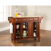 Cambridge Natural Wood Top Kitchen Island in Classic Cherry Finish, 51-1/2'' W x 18'' D x 36'' H