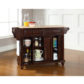 Cambridge Natural Wood Top Kitchen Island in Vintage Mahogany Finish, 51-1/2'' W x 18'' D x 36'' H