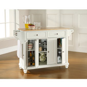 Cambridge Natural Wood Top Kitchen Island in White Finish, 51-1/2'' W x 18'' D x 36'' H