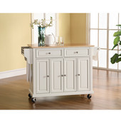 Natural Wood Top Kitchen Cart/Island in White Finish, 51-1/2'' W x 18'' D x 36'' H