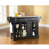 Alexandria Stainless Steel Top Kitchen Island in Black Finish, 51-1/2'' W x 18'' D x 36'' H