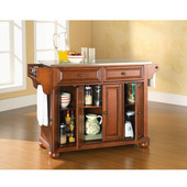 Alexandria Stainless Steel Top Kitchen Island in Classic Cherry Finish, 51-1/2'' W x 18'' D x 36'' H