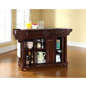 Alexandria Stainless Steel Top Kitchen Island in Vintage Mahogany Finish, 51-1/2'' W x 18'' D x 36'' H