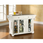 Alexandria Stainless Steel Top Kitchen Island in White Finish, 51-1/2'' W x 18'' D x 36'' H