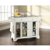 LaFayette Stainless Steel Top Kitchen Island in White Finish, 51-1/2'' W x 18'' D x 36'' H