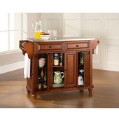 Cambridge Stainless Steel Top Kitchen Island in Classic Cherry Finish, 51-1/2'' W x 18'' D x 36'' H