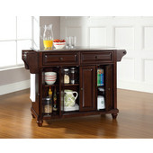Cambridge Stainless Steel Top Kitchen Island in Vintage Mahogany Finish, 51-1/2'' W x 18'' D x 36'' H