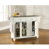 Cambridge Stainless Steel Top Kitchen Island in White Finish, 51-1/2'' W x 18'' D x 36'' H
