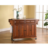 Stainless Steel Top Kitchen Cart/Island in Classic Cherry Finish, 51-1/2'' W x 18'' D x 36'' H