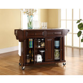 Stainless Steel Top Kitchen Cart/Island in Vintage Mahogany Finish, 51-1/2'' W x 18'' D x 36'' H