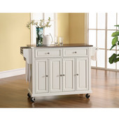 Stainless Steel Top Kitchen Cart/Island in White Finish, 51-1/2'' W x 18'' D x 36'' H