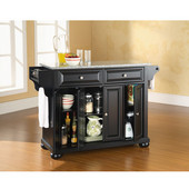 Alexandria Solid Granite Top Kitchen Island in Black Finish, 51-1/2'' W x 18'' D x 36'' H