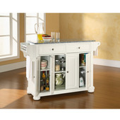 Alexandria Solid Granite Top Kitchen Island in White Finish, 51-1/2'' W x 18'' D x 36'' H