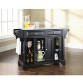 LaFayette Solid Granite Top Kitchen Island in Black Finish, 51-1/2'' W x 18'' D x 36'' H