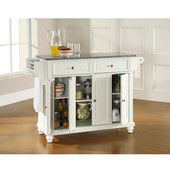 Cambridge Solid Granite Top Kitchen Island in White Finish, 51-1/2'' W x 18'' D x 36'' H