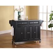 Solid Granite Top Kitchen Cart/Island in Black Finish, 51-1/2'' W x 18'' D x 36'' H