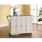 Solid Granite Top Kitchen Cart/Island in White Finish, 51-1/2'' W x 18'' D x 36'' H