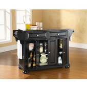 Alexandria Solid Black Granite Top Kitchen Island in Black Finish, 51-1/2'' W x 18'' D x 36'' H
