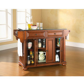 Alexandria Solid Black Granite Top Kitchen Island in Classic Cherry Finish, 51-1/2'' W x 18'' D x 36'' H