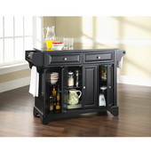 LaFayette Solid Black Granite Top Kitchen Island in Black Finish, 51-1/2'' W x 18'' D x 36'' H
