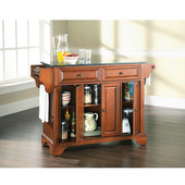 LaFayette Solid Black Granite Top Kitchen Island in Classic Cherry Finish, 51-1/2'' W x 18'' D x 36'' H