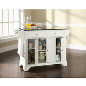 LaFayette Solid Black Granite Top Kitchen Island in White Finish, 51-1/2'' W x 18'' D x 36'' H