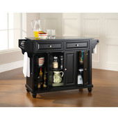 Cambridge Solid Black Granite Top Kitchen Island in Black Finish, 51-1/2'' W x 18'' D x 36'' H