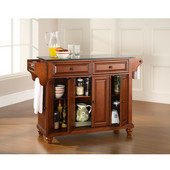 Cambridge Solid Black Granite Top Kitchen Island in Classic Cherry Finish, 51-1/2'' W x 18'' D x 36'' H