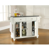 Cambridge Solid Black Granite Top Kitchen Island in White Finish, 51-1/2'' W x 18'' D x 36'' H