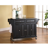 Solid Black Granite Top Kitchen Cart/Island in Black Finish, 51-1/2'' W x 18'' D x 36'' H